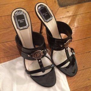 Christian Dior - Black Patent open-toe heels